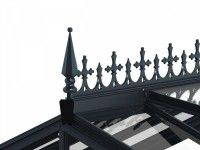 Optional Victorian ridge cresting and finials, in Anthracite